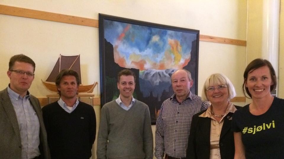 Pål Kårbø, Atle Patterson, Knut Arild Hareide, Harald Jordal, Torhild S. Nyborg og Gry Folkvord. Foto: Gry Folkvord