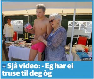 Biletet synar Christian Lund som berre har på seg ei rosa underbukse av Ivar Aasen.