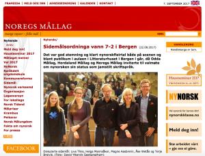 Bilete av web-sida til nm.no om valmøtet