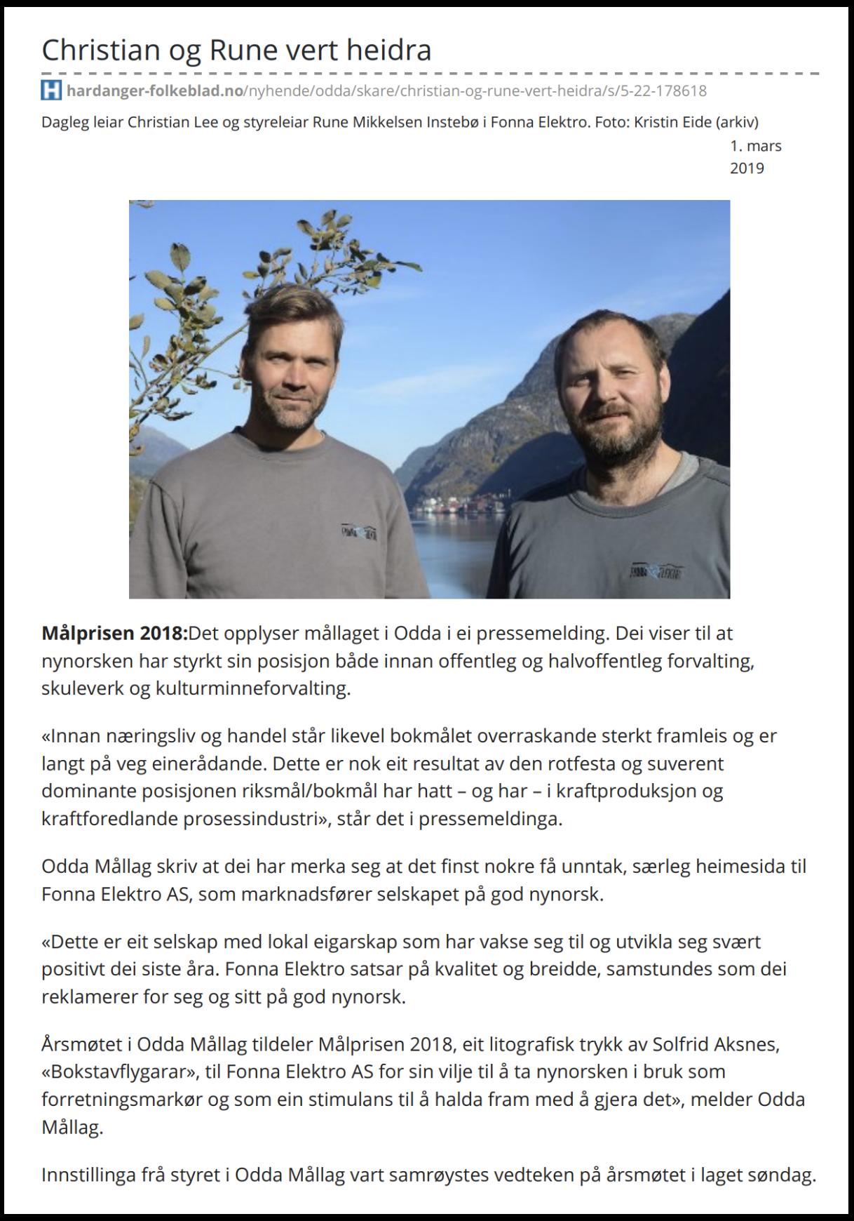 Faksemile frå Hardanger Folkelad, 1. mars 2019